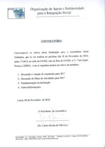 Convocatória Assembleia Geral  28 /11/ 2016